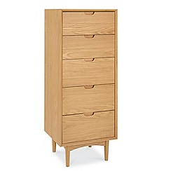 Debenhams - Oak finished 'Satellite' tall 5 drawer chest