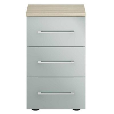 Blue Gloss Finish Ultra 3 Drawer Narrow Chest