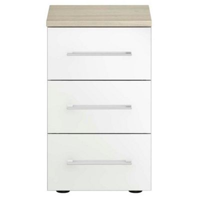 White Gloss Finish Ultra 3 Drawer Narrow Chest