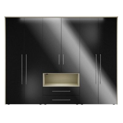 Consort Furniture Black gloss finish ´Ultra´ 6 door wardrobe with display unit - . -