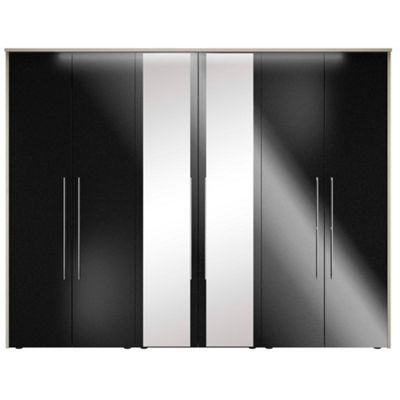 Consort Furniture Black gloss finish ´Ultra´ 6 door wardrobe with mirrors - . -