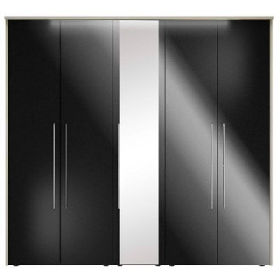 Consort Furniture Black gloss finish ´Ultra´ 5 door wardrobe with mirror - -