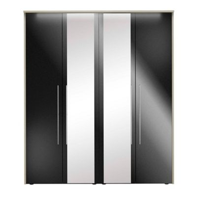 Consort Furniture Black gloss finish ´Ultra´ 4 door wardrobe with mirrors - -