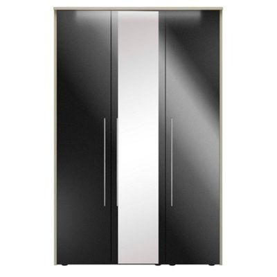 Consort Furniture Black gloss finish ´Ultra´ 3 door wardrobe with mirror - -