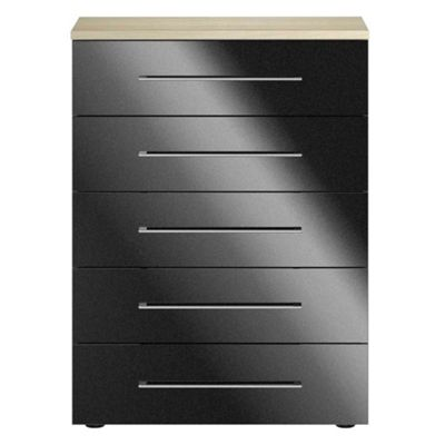 Consort Furniture Black gloss finish ´Ultra´ 5 drawer chest - -