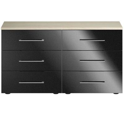 Consort Furniture Black gloss finish ´Ultra´ 6 drawer wide chest - -