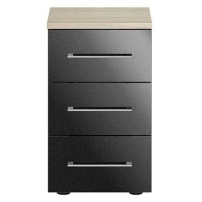 Black Gloss Finish Ultra 3 Drawer Narrow Chest