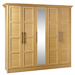Consort Furniture - Oak finished 'Camara' 5 door wardrobe with mirror