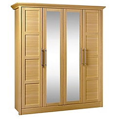 Consort Furniture - Oak finished 'Camara' 4 door wardrobe with mirrors