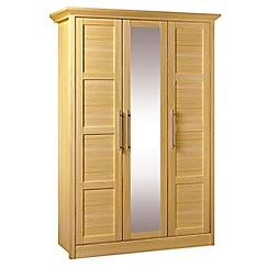 Consort Furniture - Oak finished 'Camara' triple wardrobe with mirror