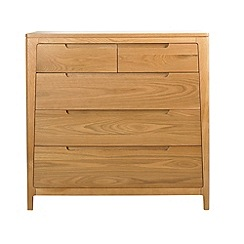 Debenhams - Oak finished 'Nord' 5 drawer chest