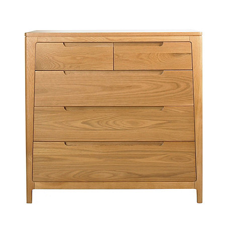 Debenhams - Oak finished +Nord+ 5 drawer chest