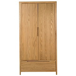 Debenhams - Oak finished 'Nord' double wardrobe with drawer