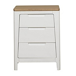 Debenhams - Oak and painted 'Nord' bedside cabinet with 3 drawers
