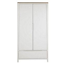 Debenhams - Oak and painted 'Nord' double wardrobe with drawer