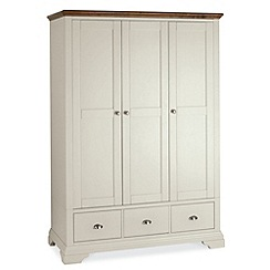 Debenhams - Walnut and painted 'Hampstead' triple wardrobe with drawers