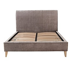 Debenhams - Grey upholstered 'Fyfield' bed frame with light wood feet