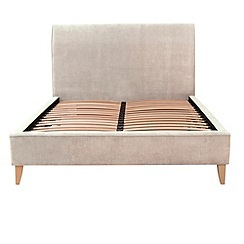 Debenhams - Linen coloured upholstered 'Fyfield' bed frame with light wood feet