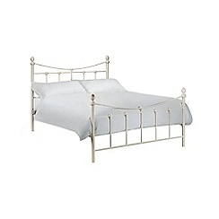Julian Bowen - Soft white 'Reba' bed frame with 'Premier' mattress