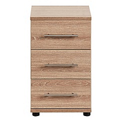 Debenhams - Dark oak effect 'Hazel' bedside cabinet with 3 drawers