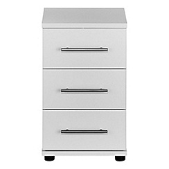 Debenhams - White 'Hazel' bedside cabinet with 3 drawers