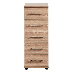 Debenhams - Dark oak effect 'Hazel' narrow 5 drawer chest