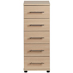 Debenhams - Light oak effect 'Hazel' narrow 5 drawer chest