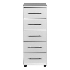 Debenhams - White 'Hazel' narrow 5 drawer chest