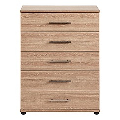 Debenhams - Dark oak effect 'Hazel' 5 drawer chest