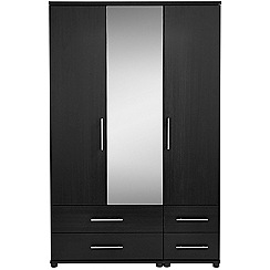 Debenhams - Black 'Hazel' triple wardrobe with drawers
