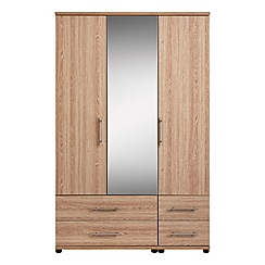 Debenhams - Dark oak effect 'Hazel' triple wardrobe with drawers