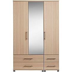 Debenhams - Light oak effect 'Hazel' triple wardrobe with drawers