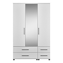 Debenhams - White 'Hazel' triple wardrobe with drawers