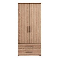 Debenhams - Dark oak effect 'Hazel' double wardrobe with drawers