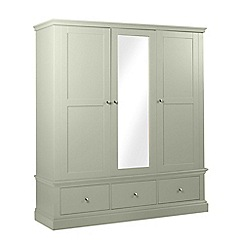 Debenhams - Pale green 'Oxford' triple wardrobe with mirror
