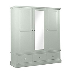 Debenhams - Pale blue 'Oxford' triple wardrobe with mirror