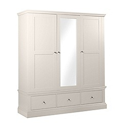 Debenhams - Grey 'Oxford' triple wardrobe with mirror