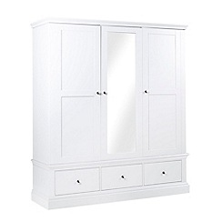 Debenhams - White 'Oxford' triple wardrobe with mirror
