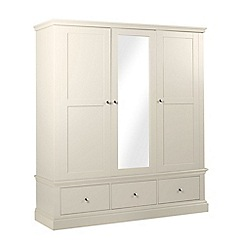 Debenhams - Cream 'Oxford' triple wardrobe with mirror