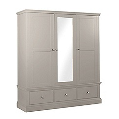 Debenhams - Taupe 'Oxford' triple wardrobe with mirror