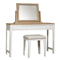 Debenhams - Oak and painted 'Nord' dressing table with mirror and stool