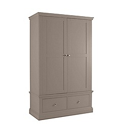Debenhams - Dark grey 'Oxford' double wardrobe with drawers