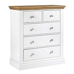 Debenhams - Oak and white 'Oxford' 5 drawer chest