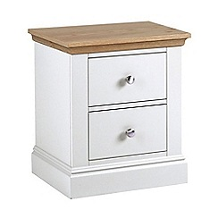 Debenhams - Oak and white 'Oxford' bedside cabinet with 2 drawers