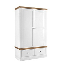 Debenhams - Oak and white 'Oxford' double wardrobe with drawers