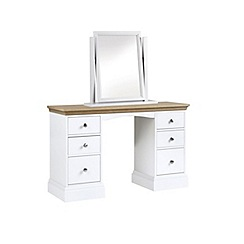 Debenhams - Oak and white 'Oxford' dressing table with mirror