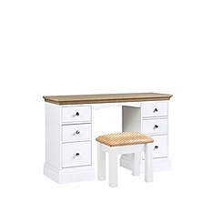 Debenhams - Oak and white 'Oxford' dressing table with stool