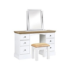 Debenhams - Oak and white 'Oxford' dressing table with mirror and stool