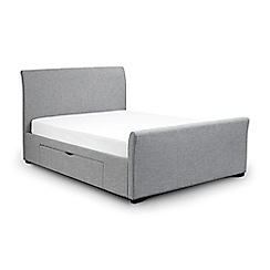 Debenhams - Grey upholstered 'Capri' bed frame with 'Premier' mattress and 2 drawers