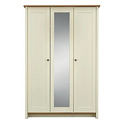 Consort Furniture - Oak and cream 'Ruffel' triple wardrobe